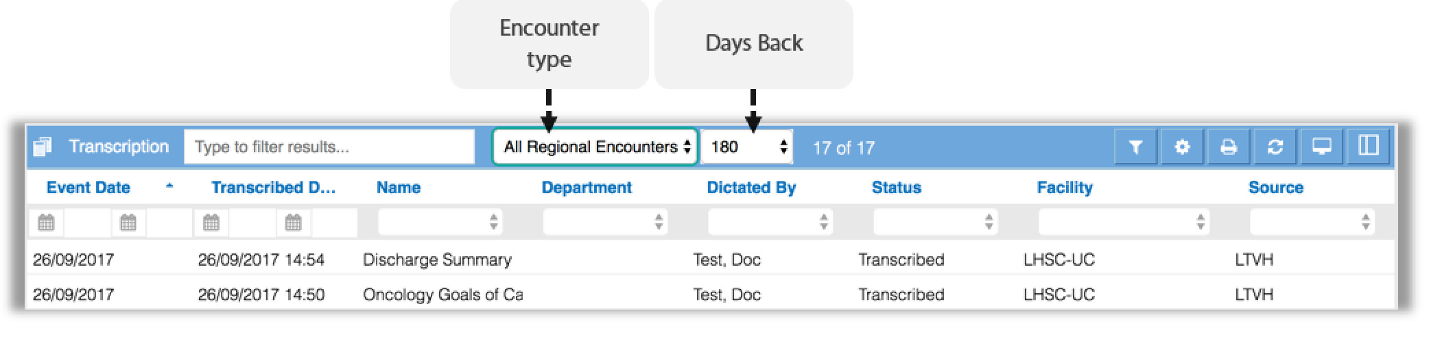 image showing the encounter type and days back filter