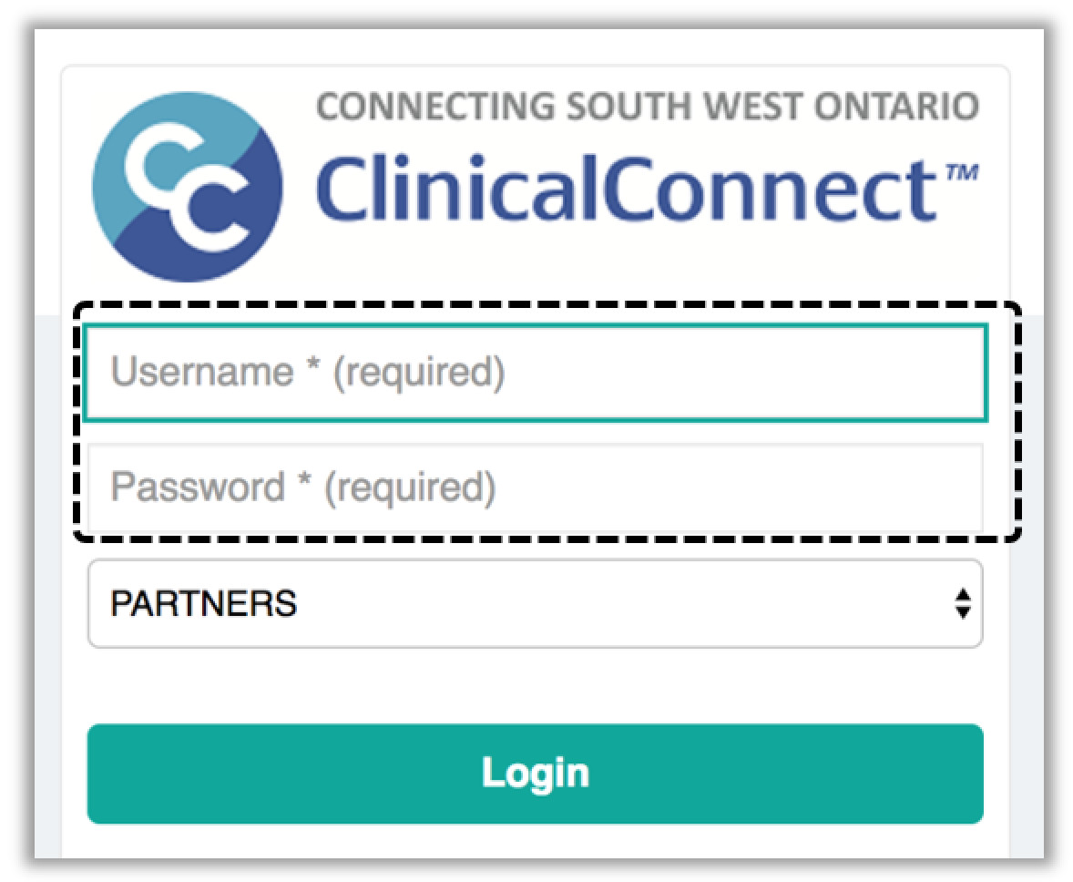 Image of the ClinicalConnect login page