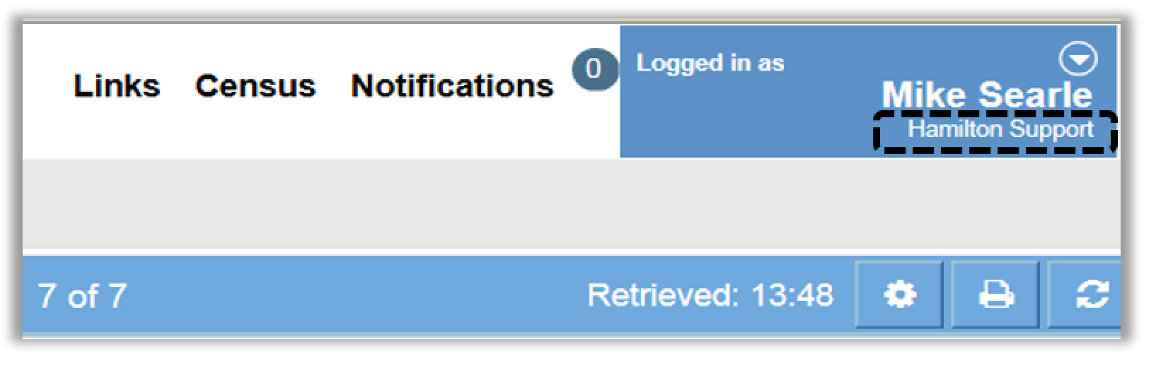 Image of the portal under which you are logged to ClinicalConnect displayed under your name