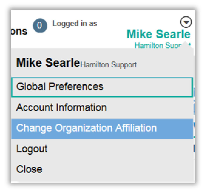 Image showing how to change organization affiliation
