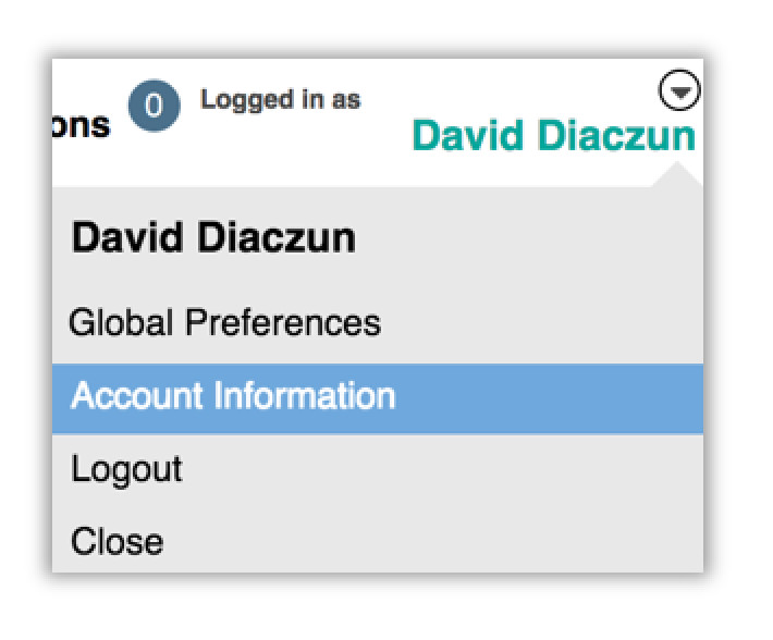 Image of the drop down list under the name of the user that is logged in