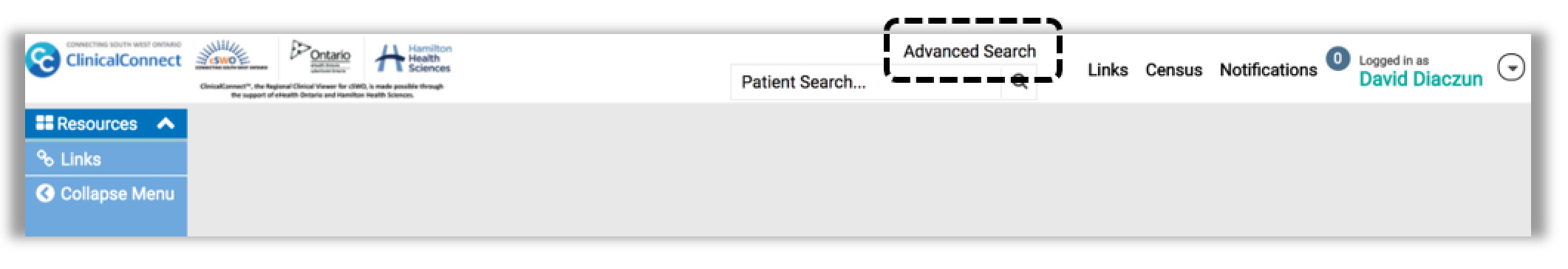 Image showing where the advanced search option is located in the toolbar