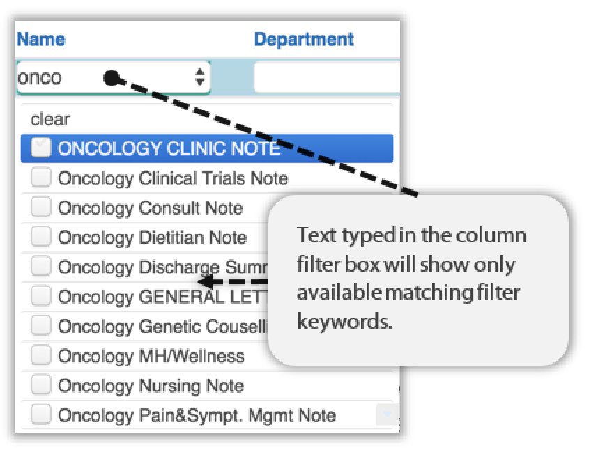 Image showing text typed in filter box to only shows avalaibility keywords that begin with ONCO