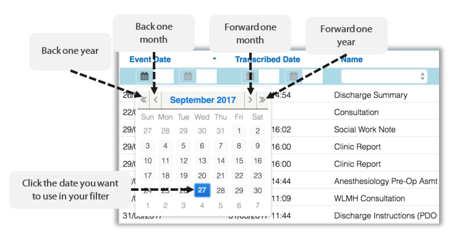 Image showing the calendar in column filter tab