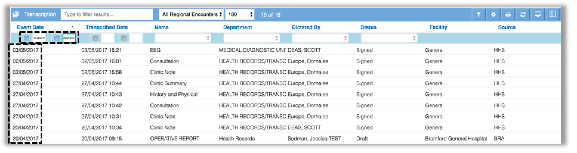 Image showing the list of transcriptions for the selected date range