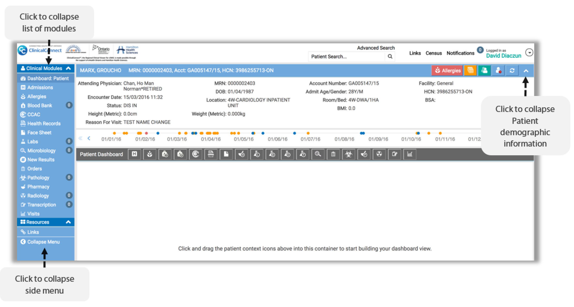 Image of the expand and collapse feature on the list of modules, side menu and patient demographic information