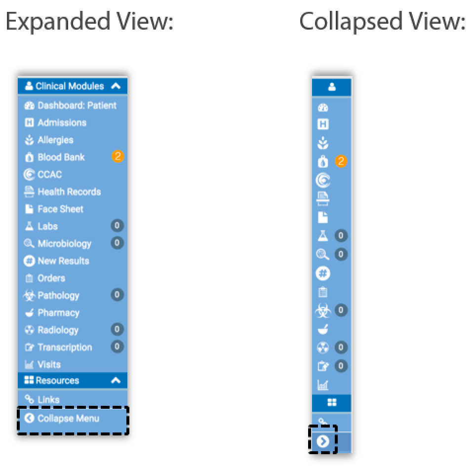 Image of the collapsed and expanded view of the modules menu