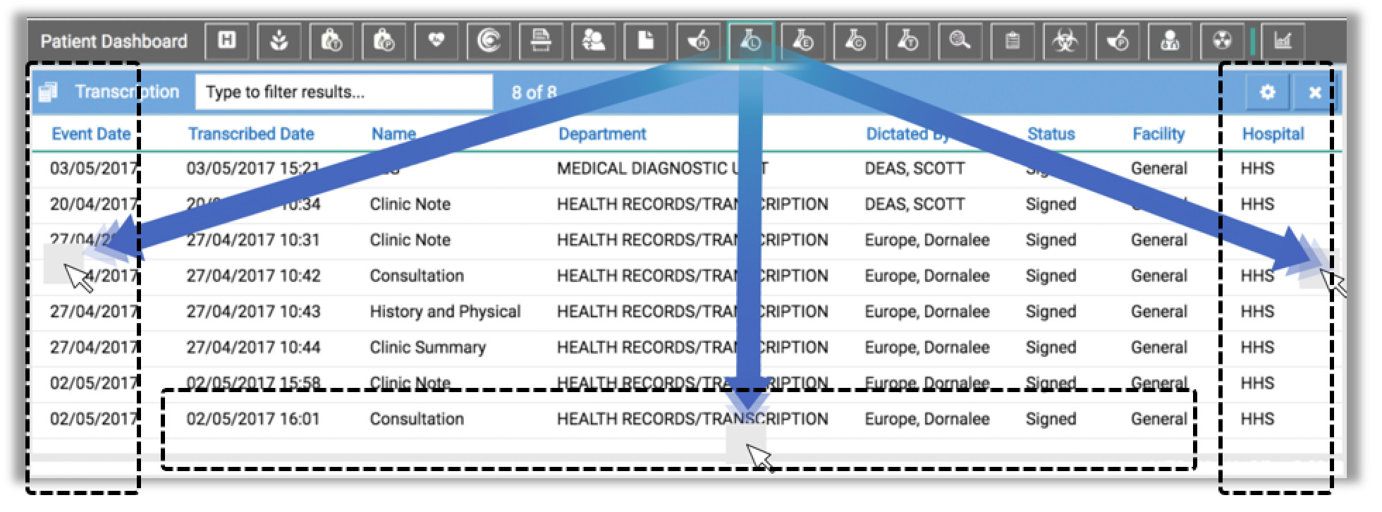 Image showing various features in the transcription module