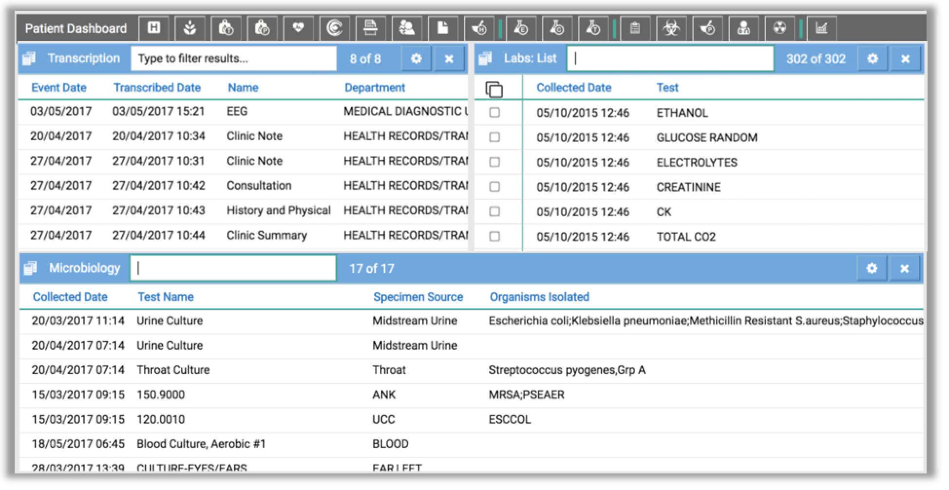 Image shows microbiology module placed below the labs and transcription module