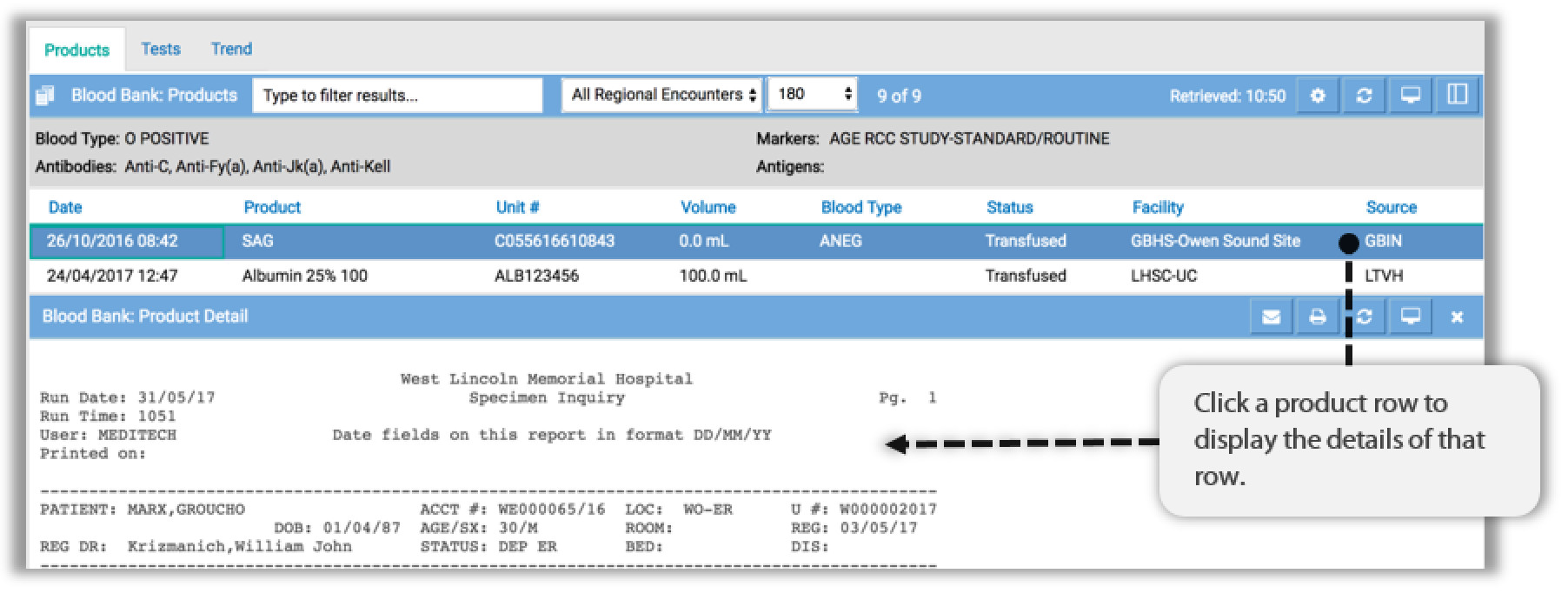 Image of blood bank products tab