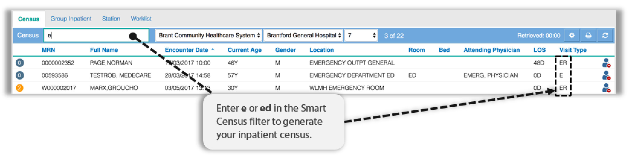 Image showing how to search for the visits type in the census list