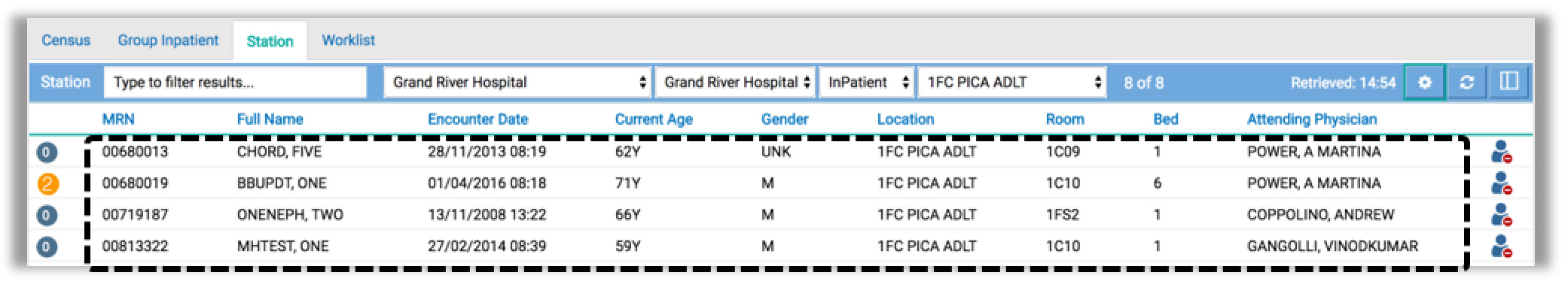 Image showing how to access the patient records from station tab