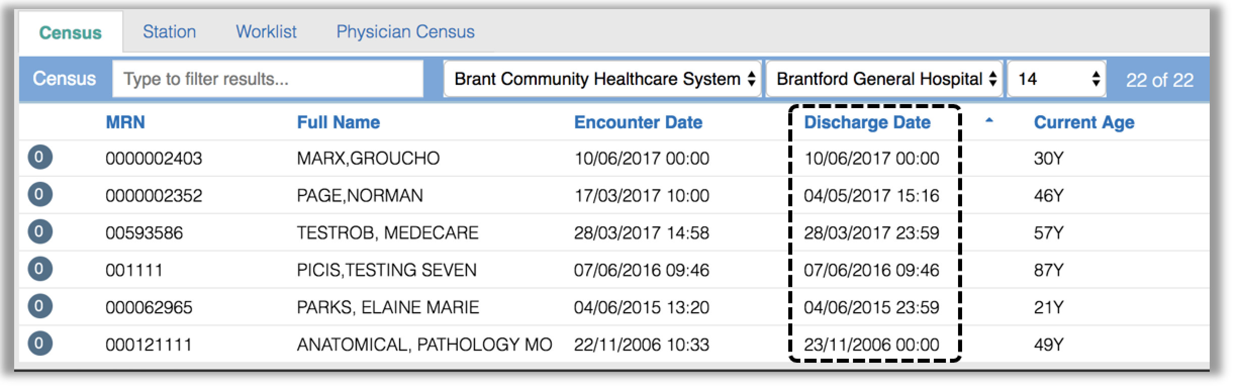 Image showing how to search for the discharge date for the patient list