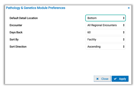 Image of pathology and genetics preference tab