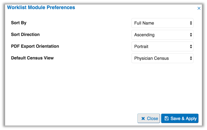 Image of the worklist module preferences