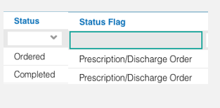 Image of status and status flag column
