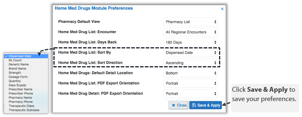 Image showing Home Med Drugs module preferences