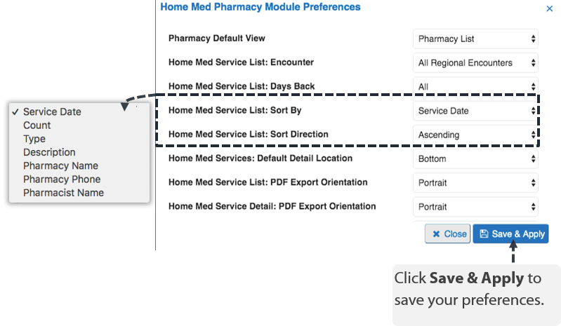 Image of the med pharmacy module preferences
