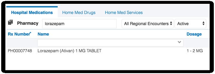 Image of hospital medications tab