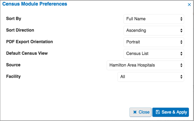 Image of Census Module preferences