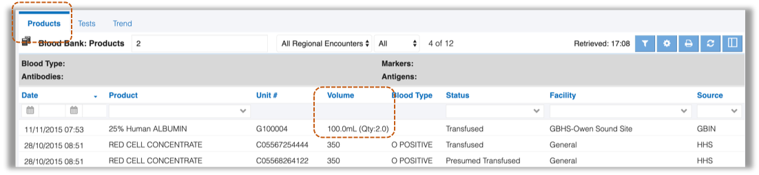 Image showing key features of blood bank module tab