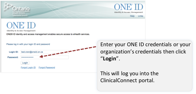 Image of putting in ONE ID credentials