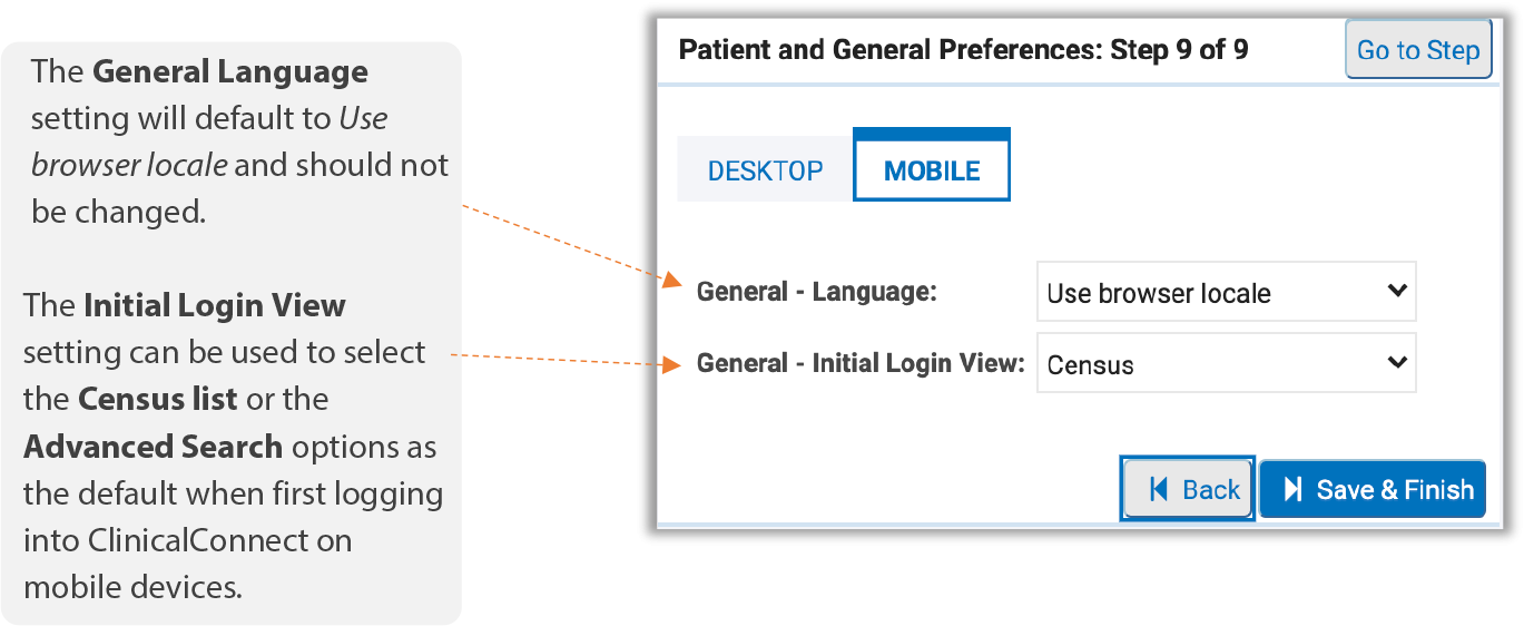 Image of mobile general preferences