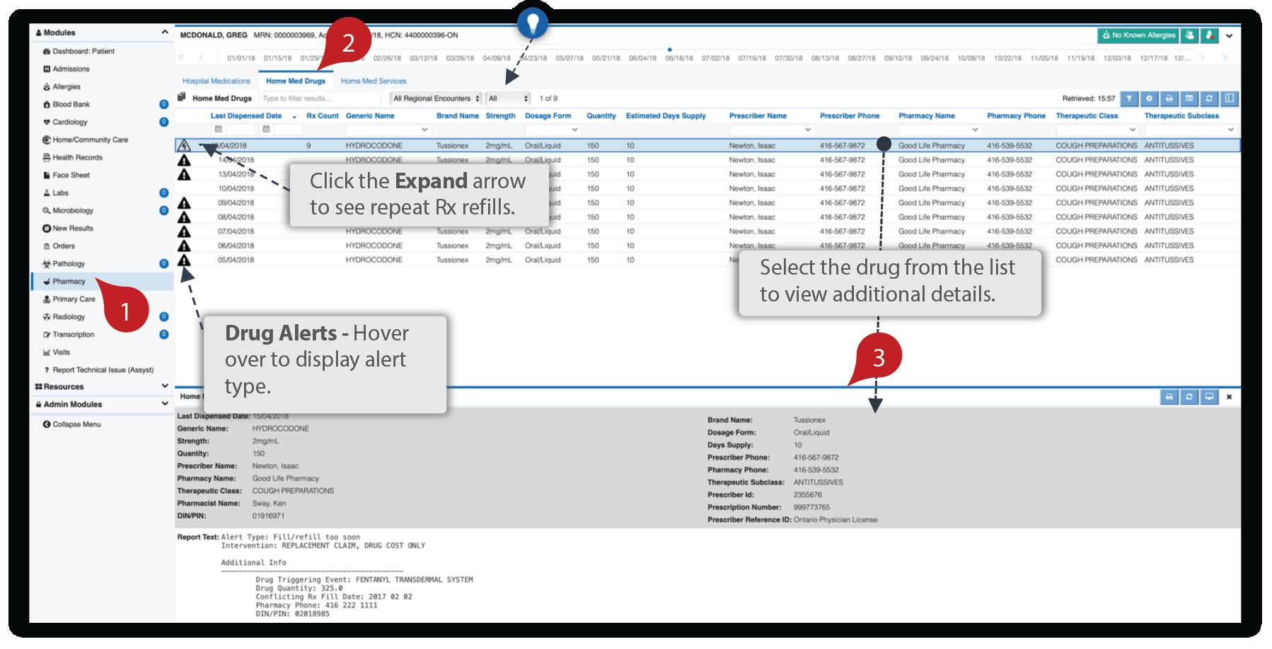 Image showing the home meds details module