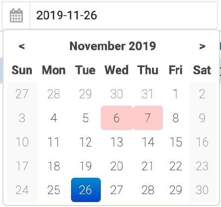 Scheduling date field