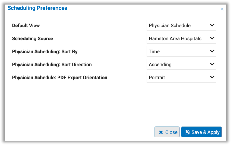 Image of scheduling preferences