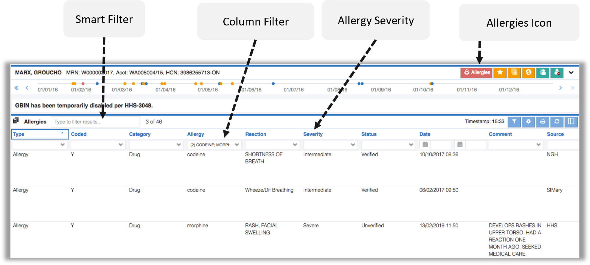 Image showing the smart filter, column filter, allergy severity, and allergies icon for the allergies module
