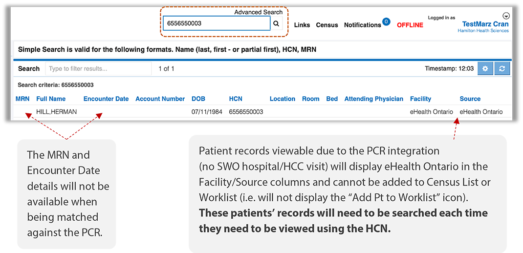 Image of PCR search results