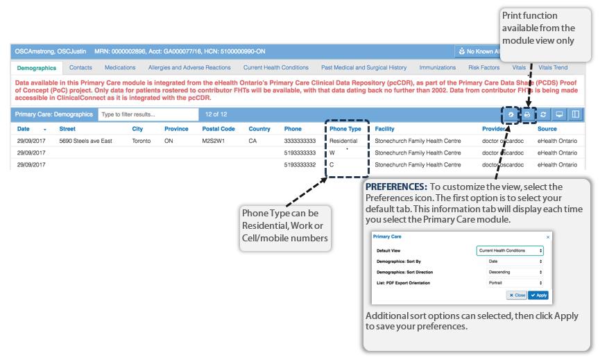 Image of the print function availability in the primary care module
