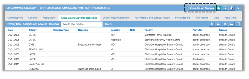Image of the no known allergies in primary care tab
