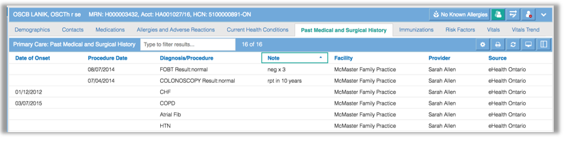 Image of the Primary Crae module with past medical surgery history tab