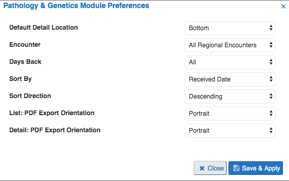 Image of pathology and genetics preference tab
