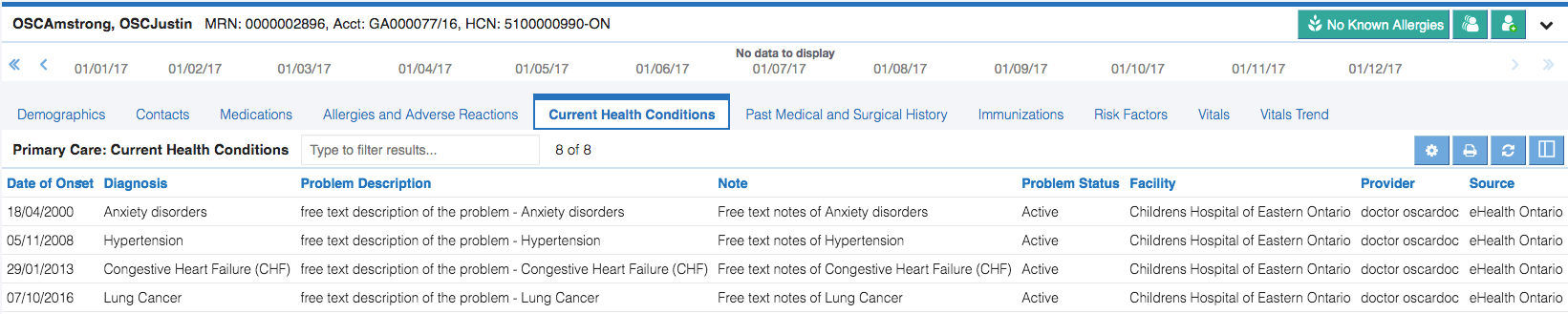 Image of the primary care current health conditions tab