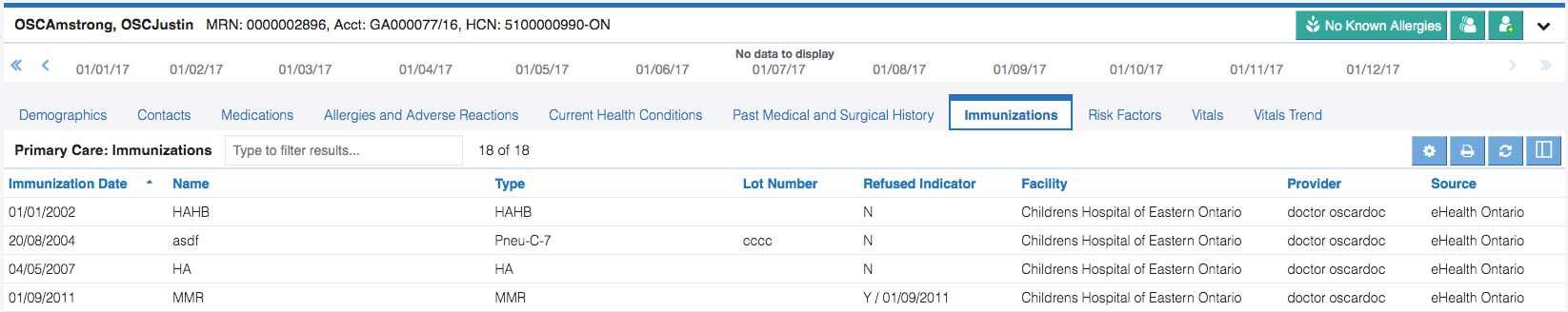Image of the Immunizations tab in the primary care module