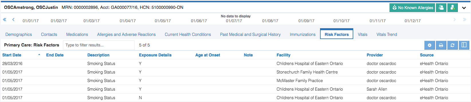 Image of primary care risk factors tab