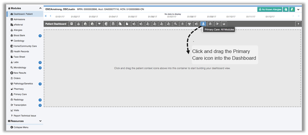 Image of how to add primary care module to the patient dashboard