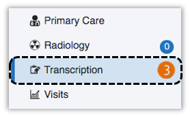 image of the transcriptions module option in the clinical modules tab