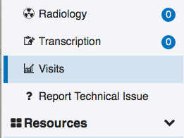Image of visits module option in clinical modules