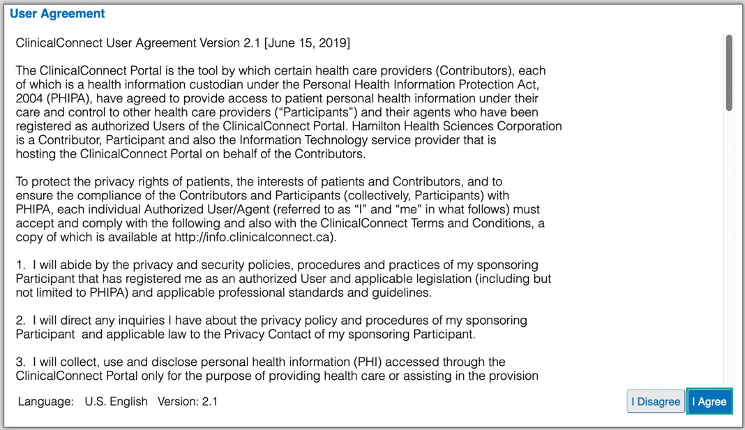 Image of clinical connect user agreement