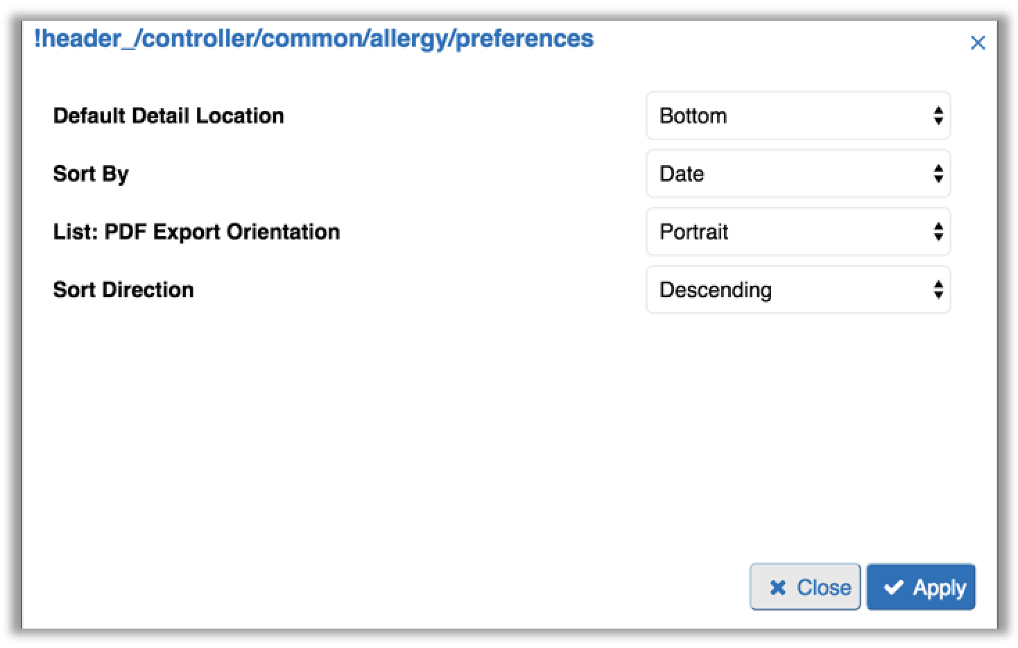 Image of the allergies module preferences tab